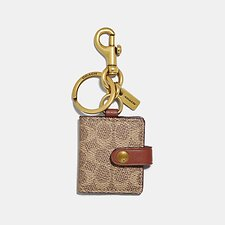 Image of Coach Australia B4/KHAKI PICTURE FRAME BAG CHARM IN SIGNATURE CANVAS