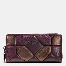 Image of Coach Australia DKLDB CANYON QUILT ACCORDION ZIP WALLET IN MIXED MATERIALS