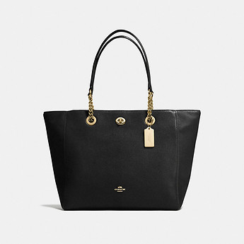 Image of Coach Australia  TURNLOCK CHAIN TOTE IN POLISHED PEBBLE LEATHER