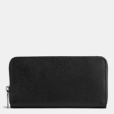 Image of Coach Australia BLACK ACCORDION WALLET IN CROSSGRAIN LEATHER