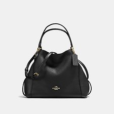 Image of Coach Australia LI/BLACK EDIE SHOULDER BAG 28 IN PEBBLE LEATHER