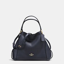 Image of Coach Australia LI/NAVY EDIE SHOULDER BAG 28 IN PEBBLE LEATHER