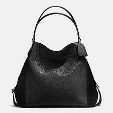 Image of Coach Australia DK/BLACK EDIE SHOULDER BAG 42 IN MIXED LEATHERS