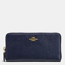 Image of Coach Australia LI/MIDNIGHT NAVY ACCORDION ZIP WALLET IN CROSSGRAIN LEATHER