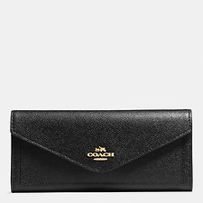 Image of Coach Australia LI/BLACK SOFT WALLET IN CROSSGRAIN LEATHER