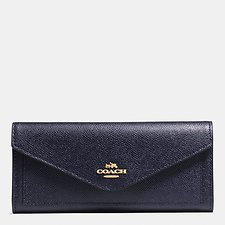 Image of Coach Australia LI/NAVY SOFT WALLET IN CROSSGRAIN LEATHER