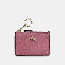 Image of Coach Australia GD/DUSTY PINK MINI SKINNY ID CASE IN CROSSGRAIN LEATHER
