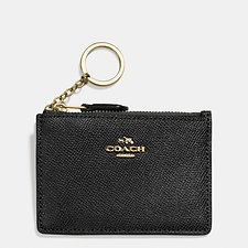 Image of Coach Australia LI/BLACK MINI SKINNY ID CASE IN CROSSGRAIN LEATHER