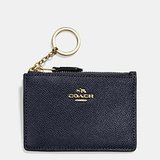 Image of Coach Australia LI/NAVY MINI SKINNY ID CASE IN CROSSGRAIN LEATHER