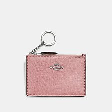 Image of Coach Australia SV/LIGHT BLUSH MINI SKINNY ID CASE IN CROSSGRAIN LEATHER