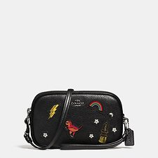 Picture of CROSSBODY CLUTCH IN GRAIN LEATHER WITH SOUVENIR EMBROIDERY