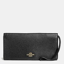 Image of Coach Australia LI/BLACK SLIM WALLET IN POLISHED PEBBLE LEATHER