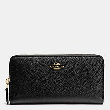 Image of Coach Australia LI/BLACK ACCORDION ZIP WALLET IN POLISHED PEBBLE LEATHER