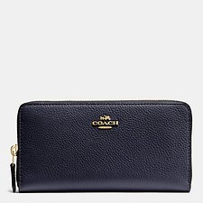 Image of Coach Australia LI/NAVY ACCORDION ZIP WALLET IN POLISHED PEBBLE LEATHER