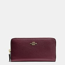 Image of Coach Australia LI/OXBLOOD ACCORDION ZIP WALLET IN POLISHED PEBBLE LEATHER