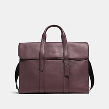 Image of Coach Australia QB/OXBLOOD BLACK METROPOLITAN PORTFOLIO IN REFINED PEBBLE LEATHER