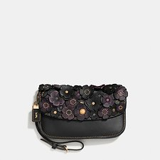 Picture of SMALL TEA ROSE APPLIQUE CLUTCH IN GLOVETANNED LEATHER