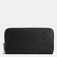 Image of Coach Australia BLACK ACCORDION WALLET IN SIGNATURE CROSSGRAIN LEATHER