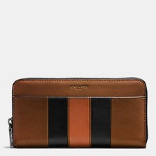 Image of Coach Australia DARK SADDLE/BLACK ACCORDION WALLET WITH MODERN VARSITY STRIPE