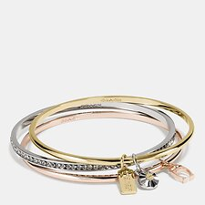 Image of Coach Australia GD/SILVER ROSEGOLD COACH SIGNATURE BANGLE SET
