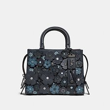 Image of Coach Australia BP/MIDNIGHT NAVY TEA ROSE APPLIQUE ROGUE BAG 25 IN GLOVETANNED PEBBLE LEATHER