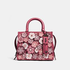 Image of Coach Australia BP/WASHED RED TEA ROSE APPLIQUE ROGUE BAG 25 IN GLOVETANNED PEBBLE LEATHER