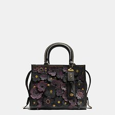 Image of Coach Australia OLBLK TEA ROSE APPLIQUE ROGUE BAG 25 IN GLOVETANNED PEBBLE LEATHER