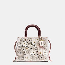 Image of Coach Australia OLCHK TEA ROSE APPLIQUE ROGUE BAG 25 IN GLOVETANNED PEBBLE LEATHER