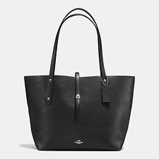 Image of Coach Australia LI/BLACK/TRUE RED MARKET TOTE IN POLISHED PEBBLE LEATHER
