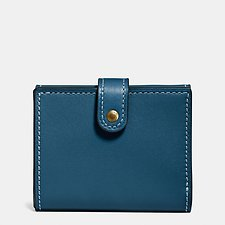 Image of Coach Australia OL/DARK DENIM SMALL TRIFOLD WALLET IN GLOVETANNED LEATHER