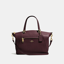 Image of Coach Australia LI/OXBLOOD PRAIRIE SATCHEL IN POLISHED PEBBLE LEATHER