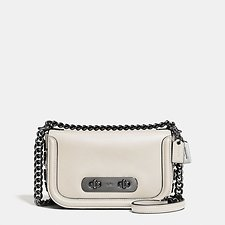 Image of Coach Australia DK/CHALK COACH SWAGGER SHOULDER BAG 20 IN GLOVETANNED LEATHER WITH WILLOW FLORAL