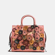Picture of ROGUE IN PEBBLE LEATHER WITH WILD TEA ROSE