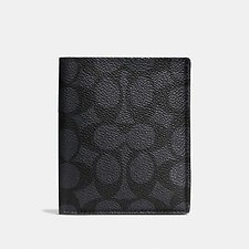 Image of Coach Australia CHARCOAL SLIM COIN WALLET IN SIGNATURE CANVAS