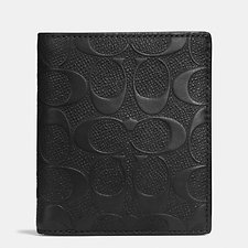 Image of Coach Australia BLACK SLIM COIN WALLET IN SIGNATURE CROSSGRAIN LEATHER