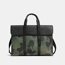 Image of Coach Australia BK/MILITARY WILD BEAST/BLACK METROPOLITAN PORTFOLIO IN PEBBLE LEATHER WITH WILD BEAST