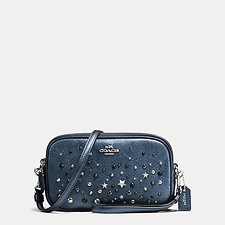 Picture of CROSSBODY CLUTCH IN METALLIC LEATHER WITH STAR RIVETS
