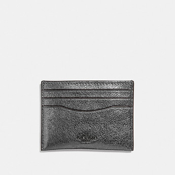 Image of Coach Australia  FLAT CARD CASE IN METALLIC GRAIN LEATHER