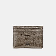 Image of Coach Australia GM/PLATINUM FLAT CARD CASE IN METALLIC GRAIN LEATHER