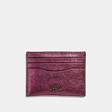 Image of Coach Australia GM/METALLIC BERRY FLAT CARD CASE IN METALLIC GRAIN LEATHER