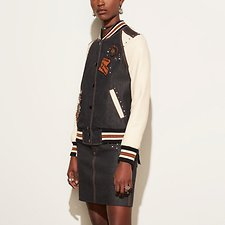 Picture of EMBELLISHED DENIM VARSITY JACKET