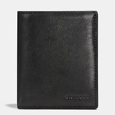 Image of Coach Australia BLACK SLIM COIN WALLET IN SPORT CALF LEATHER