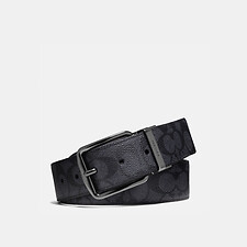 Image of Coach Australia CHARCOAL/BLACK WIDE HARNESS CUT-TO-SIZE REVERSIBLE SIGNATURE BELT