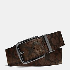Image of Coach Australia MAHOGANY WIDE HARNESS CUT-TO-SIZE REVERSIBLE SIGNATURE BELT