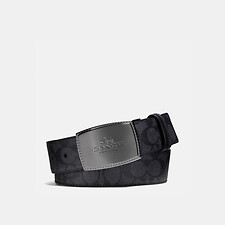 Image of Coach Australia CHARCOAL/BLACK STITCHED PLAQUE CUT-TO-SIZE REVERSIBLE SIGNATURE BELT