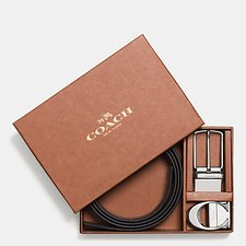 Image of Coach Australia BLACK/DARK BROWN BOXED SCULPTED C CUT-TO-SIZE REVERSIBLE BELT