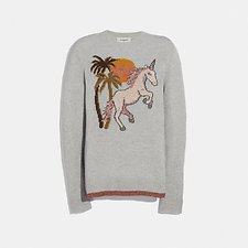 Image of Coach Australia GREY UNI INTARSIA SWEATER