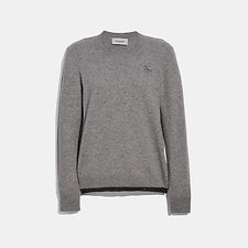 Image of Coach Australia GREY MELANGE REXY PATCH CREWNECK