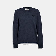 Image of Coach Australia NAVY REXY PATCH CREWNECK