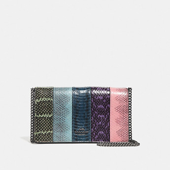 Image of Coach Australia  CALLIE FOLDOVER CHAIN CLUTCH IN OMBRE SNAKESKIN